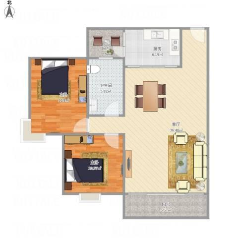 海悦新城2室1厅1卫1厨108.00㎡户型图