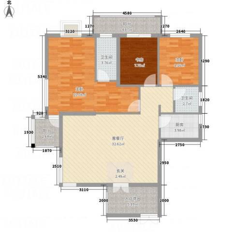 北湖星城五期3室1厅2卫1厨132.00㎡户型图
