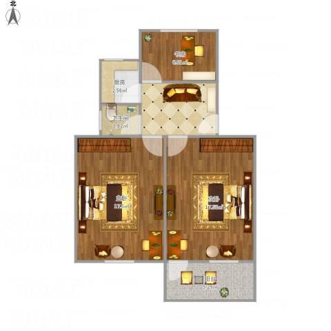 彩虹新村3室1厅1卫1厨76.00㎡户型图