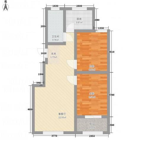 万信摩登会馆2室1厅1卫1厨76.00㎡户型图