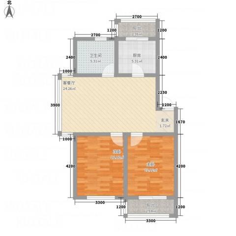 龙逸馨都2室1厅1卫1厨86.00㎡户型图
