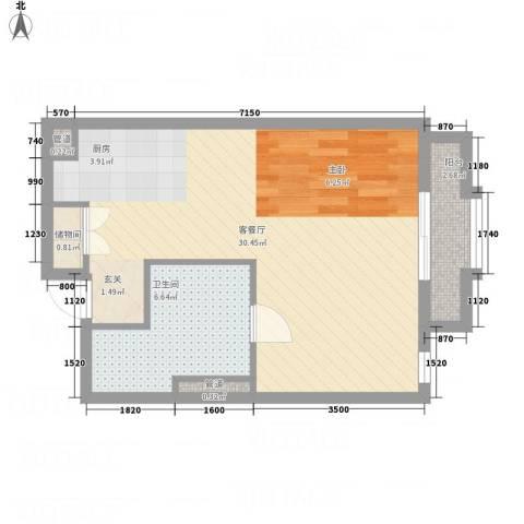 万信摩登会馆1厅1卫0厨59.00㎡户型图