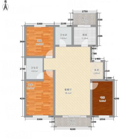 龙逸馨都3室1厅2卫1厨90.20㎡户型图
