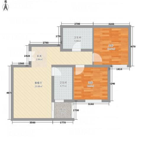 阳光北郡2室1厅2卫0厨80.00㎡户型图