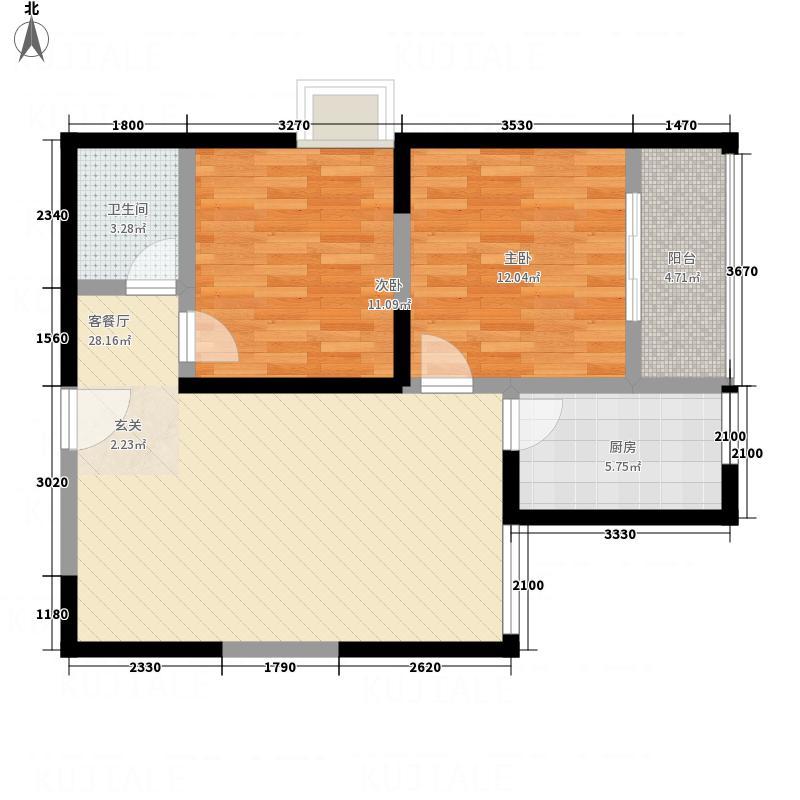 东城夕鹫3.20㎡D户型2室2厅1卫1厨