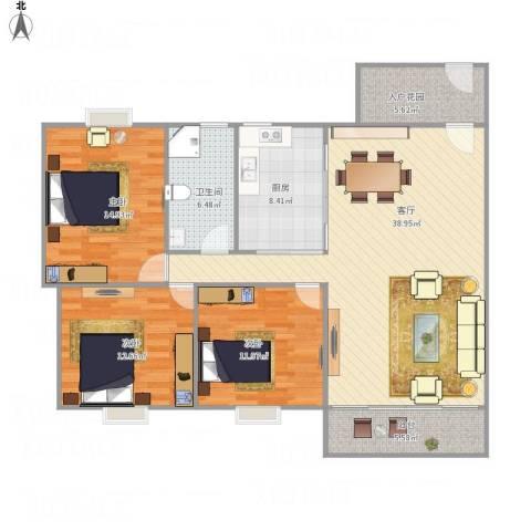 海悦新城3室1厅1卫1厨140.00㎡户型图