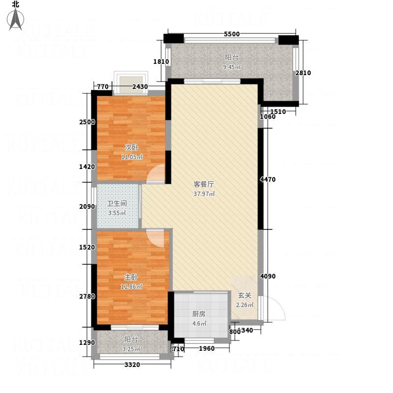 御景名城15.30㎡8栋1单元户型2室2厅1卫1厨