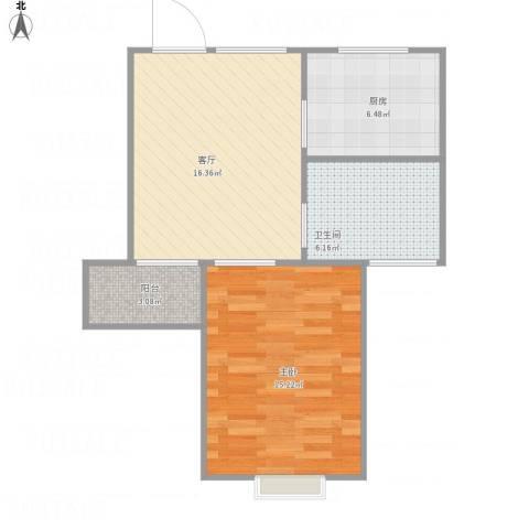 丽泽荷亭苑1室1厅1卫1厨64.00㎡户型图