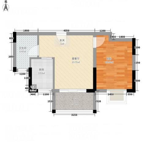 怡景国际1室1厅1卫1厨47.00㎡户型图