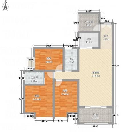 怡景国际3室1厅2卫1厨95.61㎡户型图