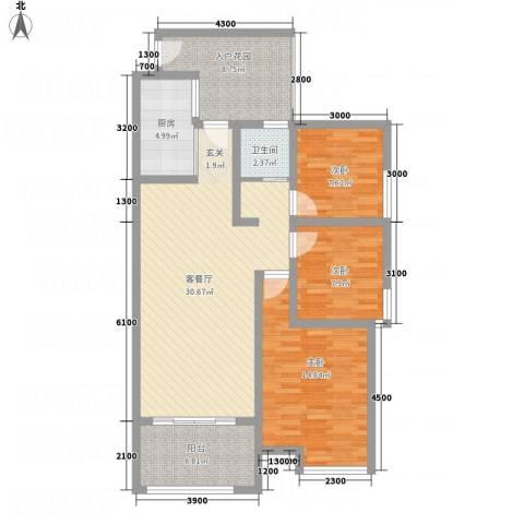怡景国际3室1厅1卫1厨83.95㎡户型图