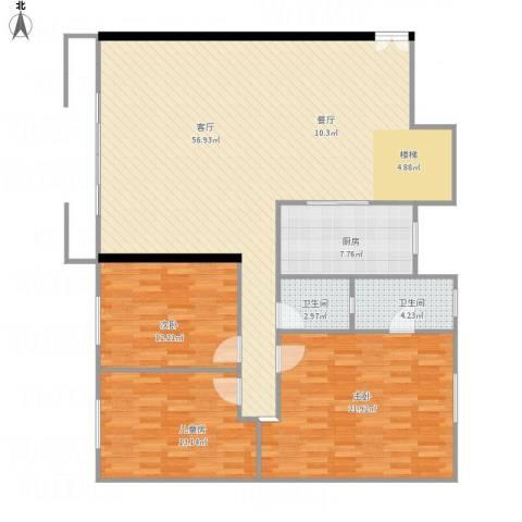 芙蓉苑3室1厅2卫1厨159.00㎡户型图