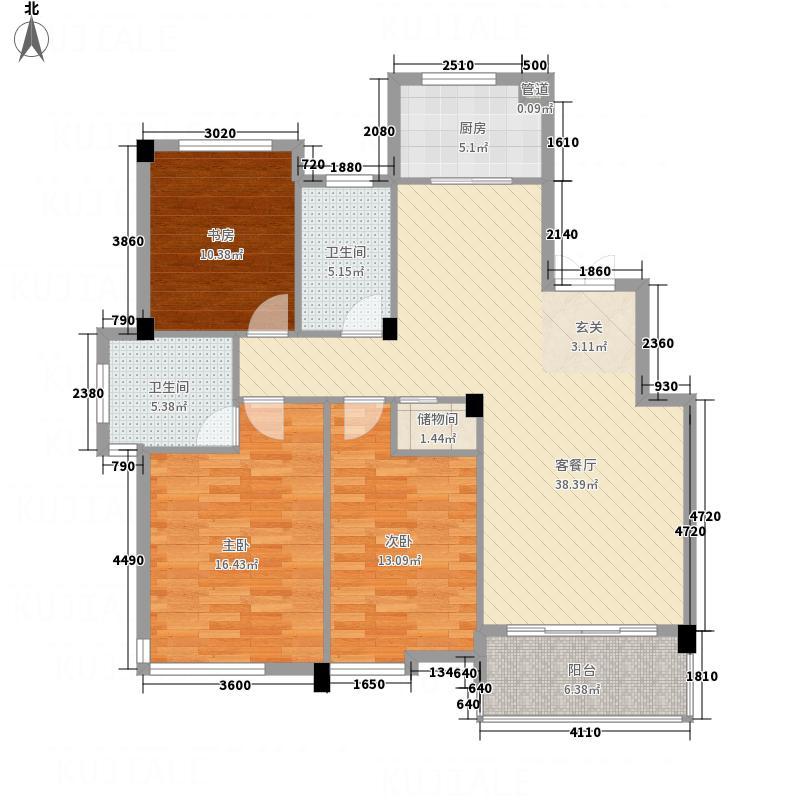 凤凰138.78㎡小区1号楼A户型3室2厅2卫1厨