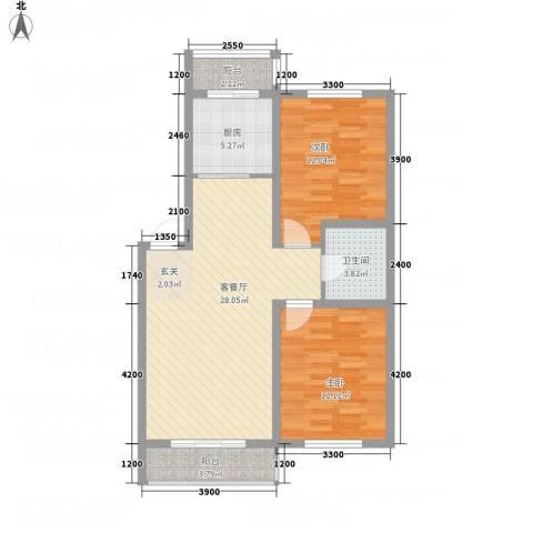 龙逸馨都2室1厅1卫1厨96.00㎡户型图
