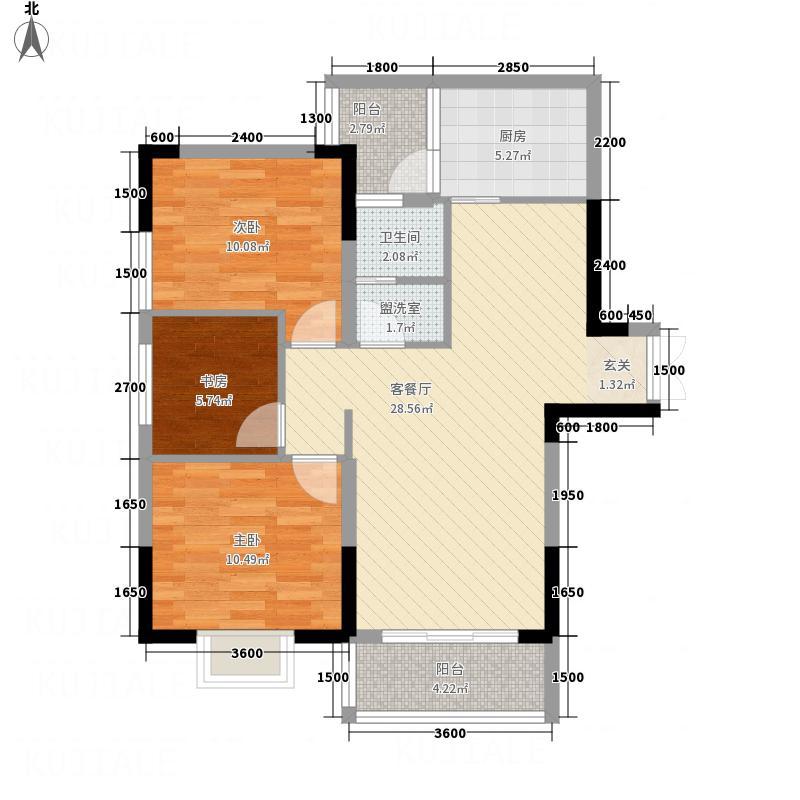 怡景国际34.52㎡三居室户型3室2厅1卫1厨
