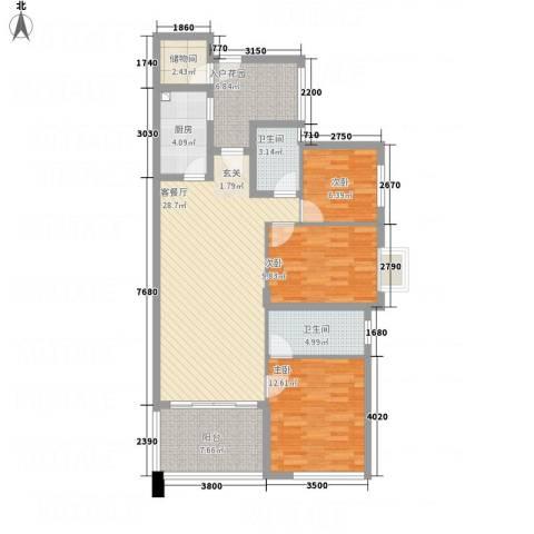 万科金色荔苑3室1厅2卫1厨125.00㎡户型图