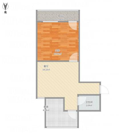 历园新村1室1厅1卫1厨46.00㎡户型图