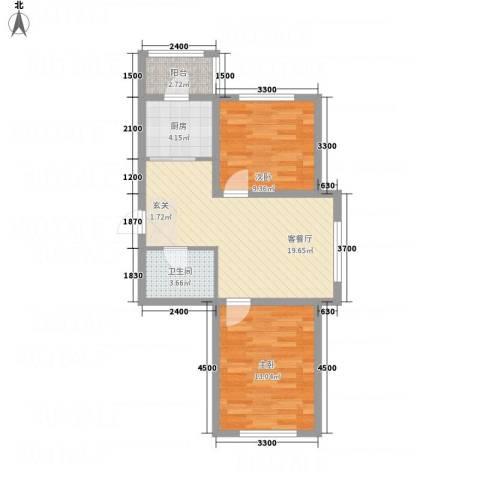 龙逸馨都2室1厅1卫1厨76.00㎡户型图