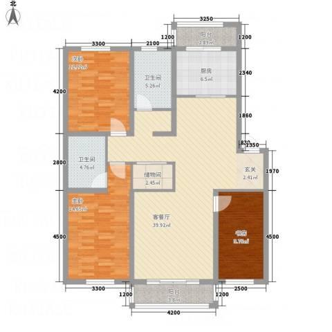 龙逸馨都3室1厅2卫1厨131.00㎡户型图