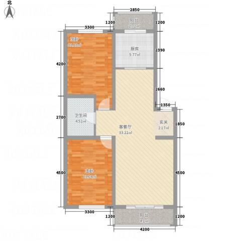龙逸馨都2室1厅1卫1厨109.00㎡户型图