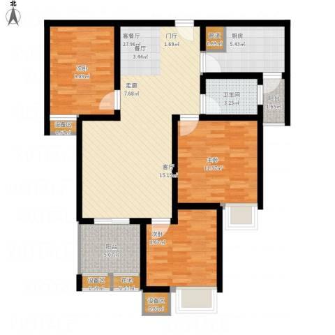 华城山水人家3室1厅1卫1厨112.00㎡户型图