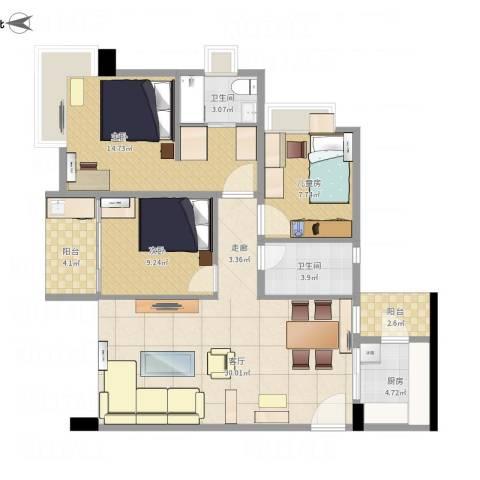 世荣名筑3室1厅2卫1厨111.00㎡户型图