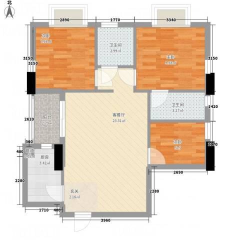 金花苑3室1厅2卫1厨83.00㎡户型图