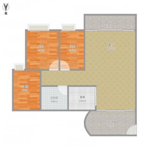 园林熙郡33栋1004户三房98平南向3室1厅1卫1厨93.00㎡户型图