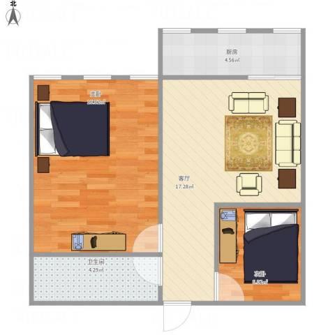机车新村53平米中户2室1厅1卫1厨66.00㎡户型图