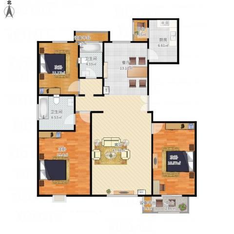 亿利城文澜雅筑3室1厅2卫1厨160.00㎡户型图