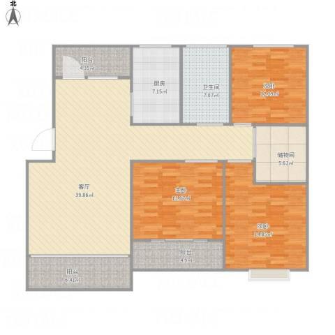 丽泽荷亭苑C2124.25平方3室1厅1卫1厨155.00㎡户型图