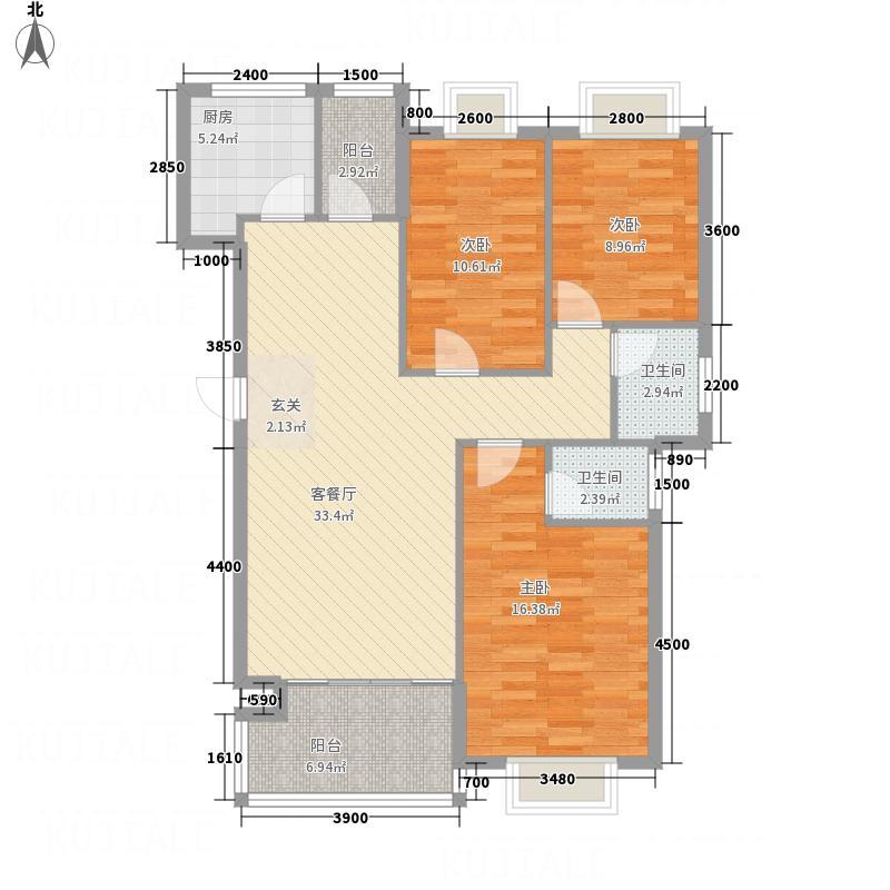 兆丰花苑11.70㎡4#楼A户型3室2厅2卫1厨