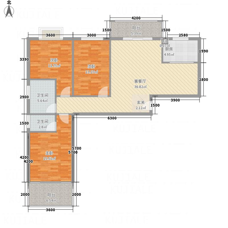 兆丰花苑131.57㎡1#楼AE户型3室2厅2卫1厨