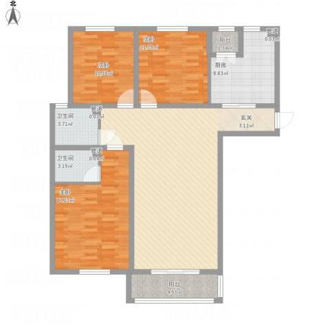 财富湾3室1厅2卫1厨142.00㎡户型图