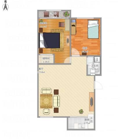 新馨家园1室1厅1卫1厨77.00㎡户型图