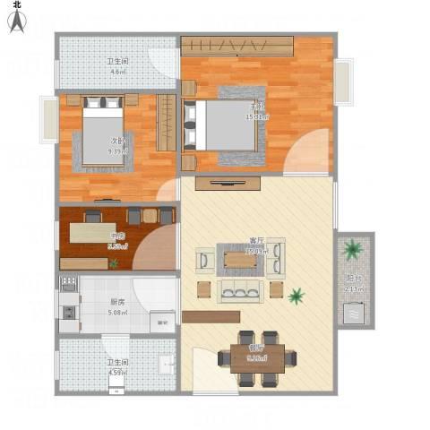 富力半岛花园3室1厅2卫1厨96.00㎡户型图