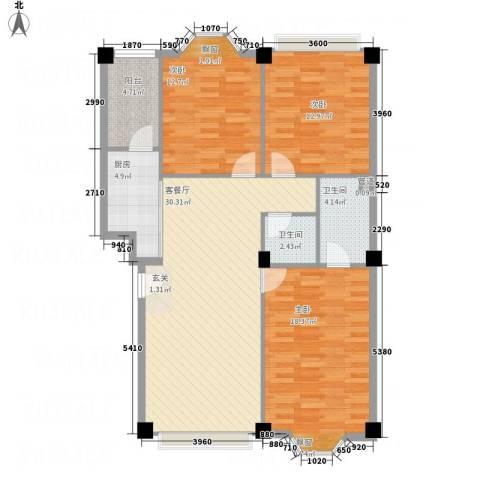 大唐长风一期3室1厅2卫1厨125.00㎡户型图
