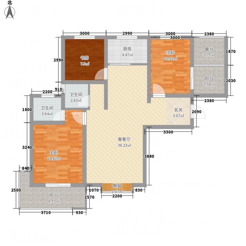 龙廷山水・东方�园123.20㎡d户型3室2厅2卫