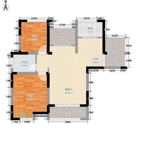 景徽国际2室1厅1卫1厨71.66㎡户型图
