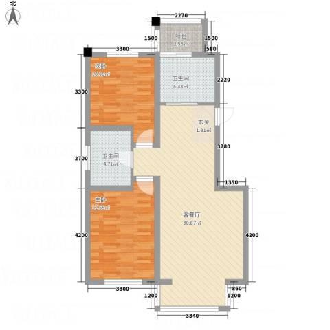 龙逸馨都2室1厅2卫0厨66.18㎡户型图
