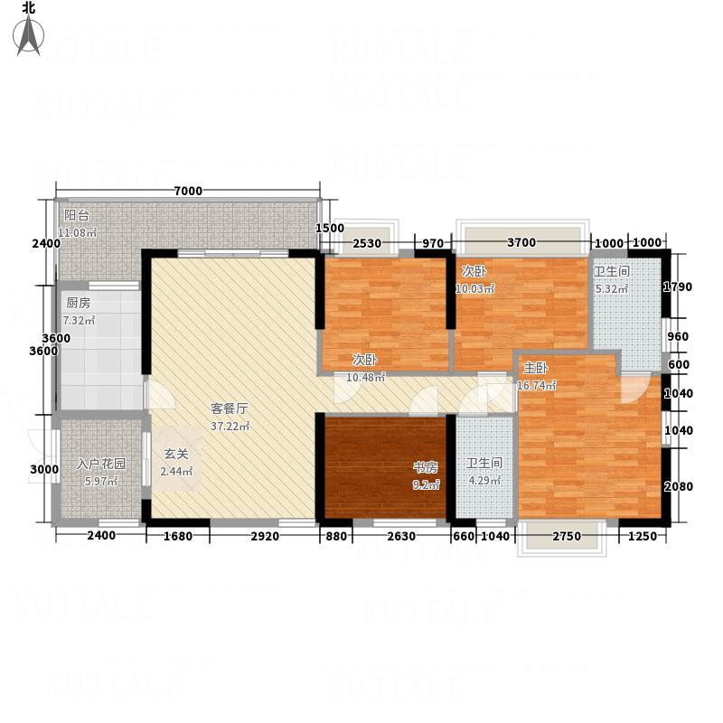 后海名门141.00㎡一单元07、08户型4室2厅2卫1厨