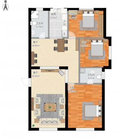 新世纪花园3室2厅2卫1厨144.00㎡户型图