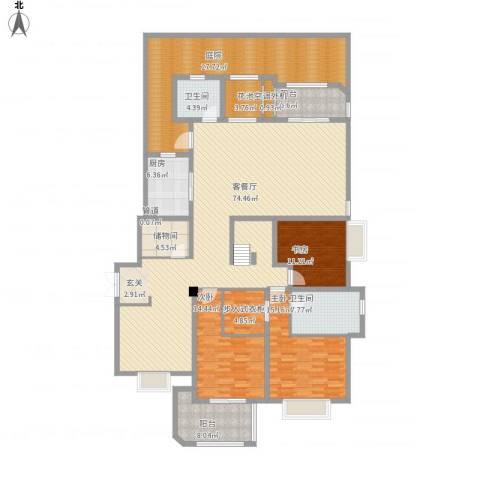 保利湖畔林语3室1厅2卫1厨270.00㎡户型图