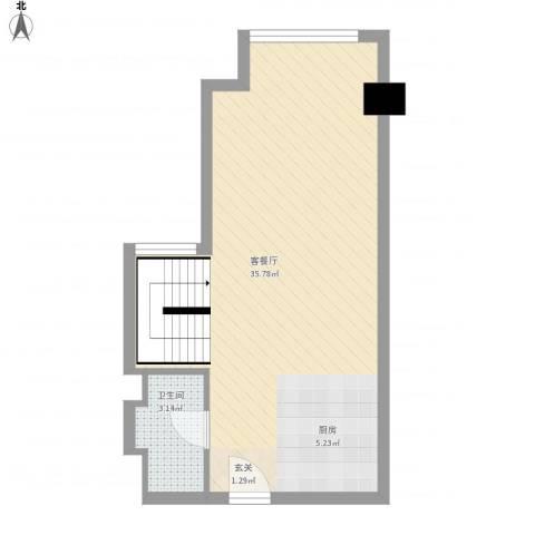 坦洲皇爵盈富国际1厅1卫0厨54.00㎡户型图