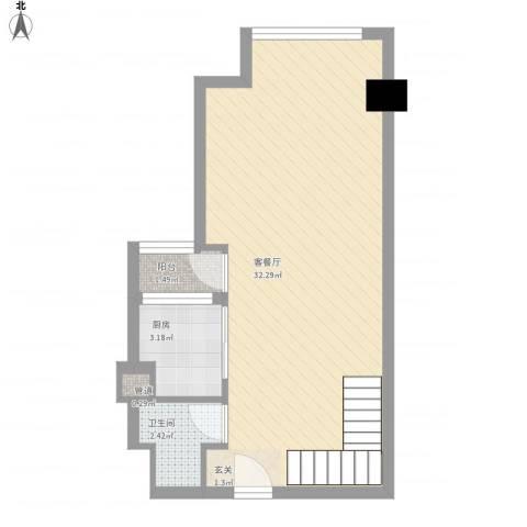 坦洲皇爵盈富国际1厅1卫1厨56.00㎡户型图