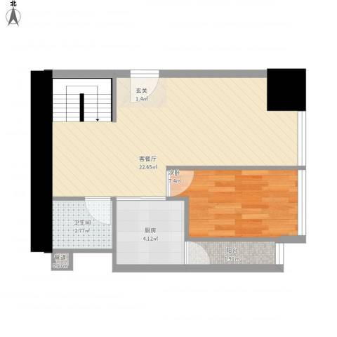 坦洲皇爵盈富国际1室1厅1卫1厨56.00㎡户型图