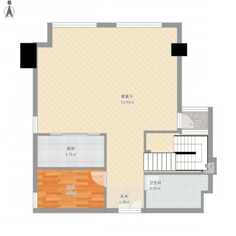 坦洲皇爵盈富国际1室1厅1卫1厨100.00㎡户型图
