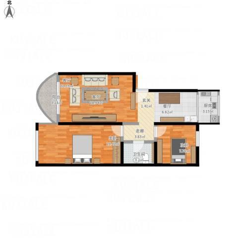 雪峰花园2室1厅1卫1厨90.00㎡户型图