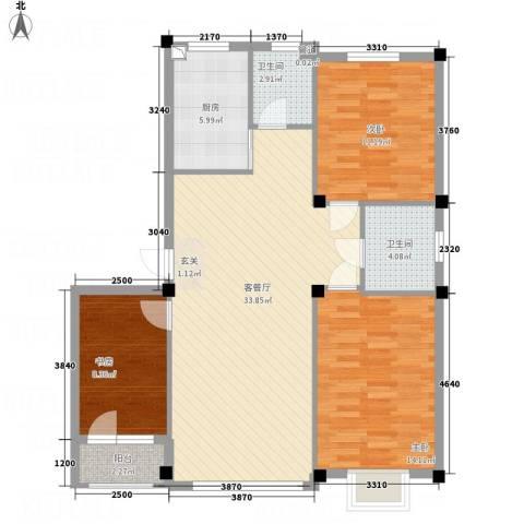 华纺・海岸城3室1厅2卫1厨115.00㎡户型图