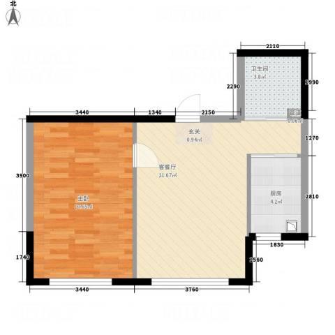 华纺・海岸城1室1厅1卫1厨66.00㎡户型图